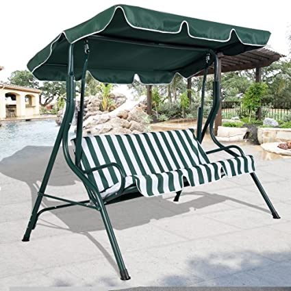 Amazon Com Fashion Green Outdoor Patio Swing Canopy 3 Person