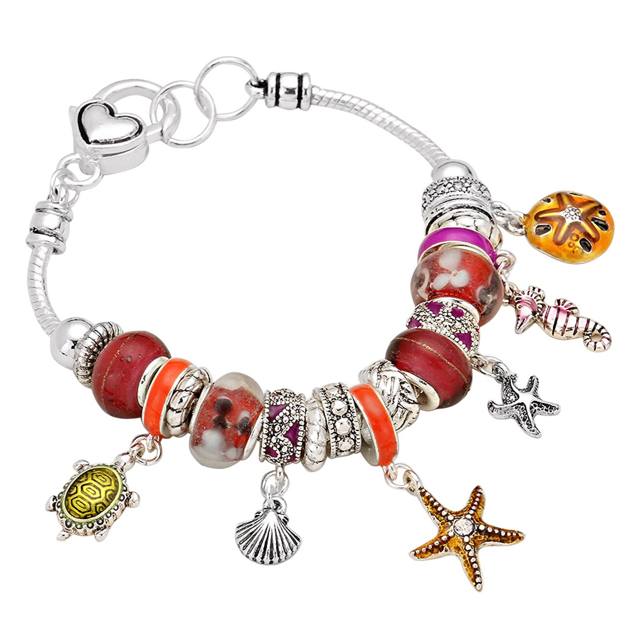Rosemarie Collections Women's Glass Bead Charm Bracelet Starfish Seahorse Turtle (Red)