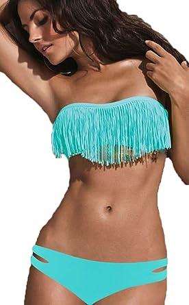 780540b80e Amazon.com  Fashion Sexy Padded Boho Fringe Bandeau Strapless Two Piece  Bikini Bathing Suit  Clothing