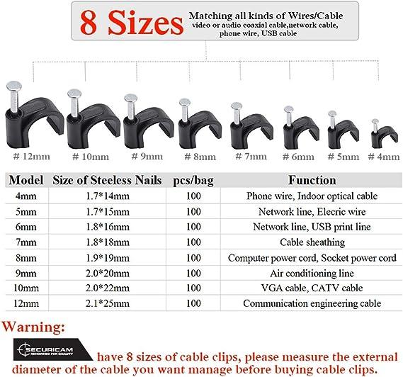 Accessoires de bureau SECURICAM 100pcs x 8mm Noir Clips muraux de c/âble,Clous muraux G/ère le fil /électrique,CAT5//CAT6,RG6,RG59,RJ45 dans Maison Bureau