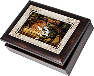 Cottage Garden Cats Sleeping On a Hearth Fireplace Burlwood Jewelry Music Box Plays Friend in Jesus
