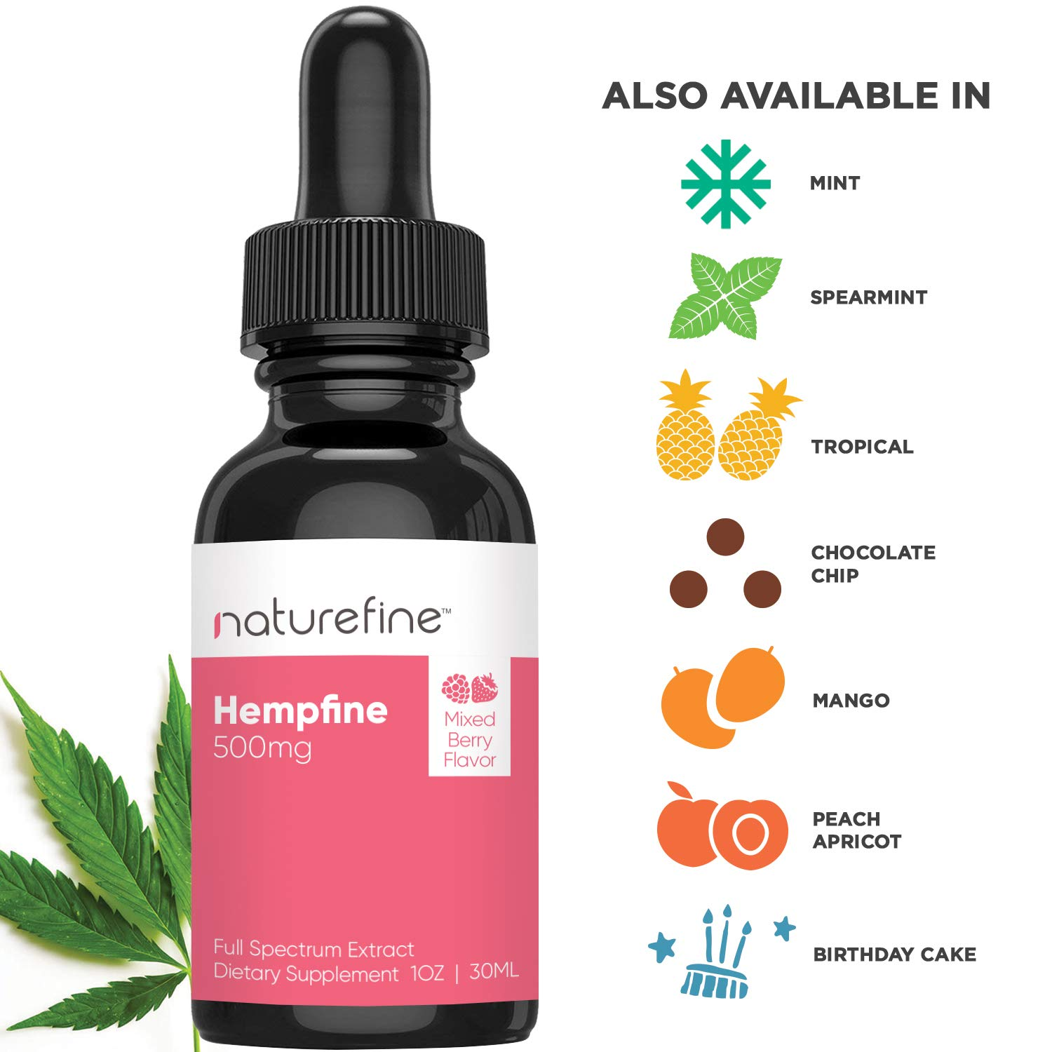 25faf2b5c4f2b Amazon.com: Hemp Oil - (500 MG) - Full Spectrum Hemp Oil - New Mixed Berry  Flavor - Natural Pain Relief & Anxiety - Hempfine - Proudly Grown & Made in  USA: ...