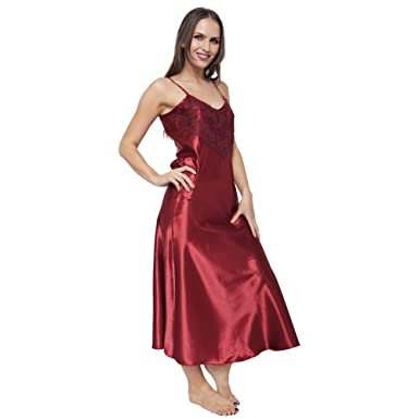 842fddb206516 Ladies Womens Satin Long Nightdress Nightie Front Lace Detail 10 to 28 | 7  Colours: Amazon.co.uk: Clothing