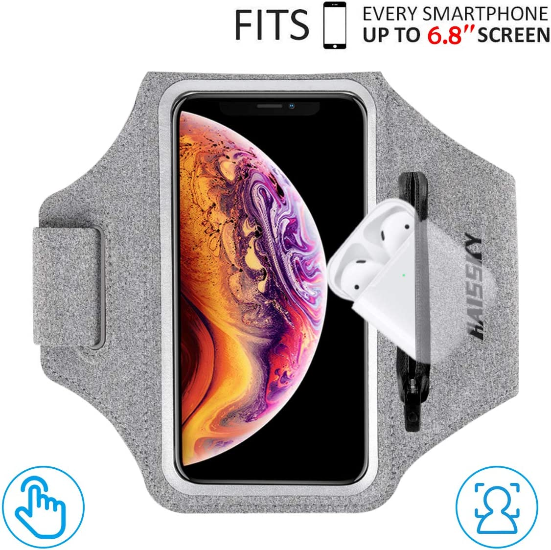 """HAISSKY Armband Case with Airpods Holder/Car Key Bag Cell Phone Holder Gym Case Fits iPhone 11 Pro Max/11 Pro/Xs Max/XR 8 7 6,Galaxy S10+/S10/S10e/S9+ with Key Holder&Card Slot up to 6.8"""" (Grey)"""