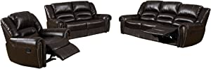 Furniture of America Tolgreer 3 Piece Bonded Leather Match Recliners Set, Dark Brown