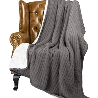 NTBAY All Seasons Collection Super Warm Cable Knit Throw Blanket (60 X 78 , Grey)
