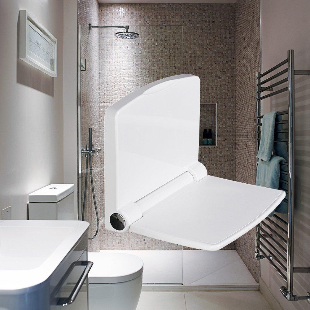 折りたたみシャワーシート壁マウントされ、ABS、アイボリーホワイト、14.5-inch by 12.6-inch B07BDKXZPF
