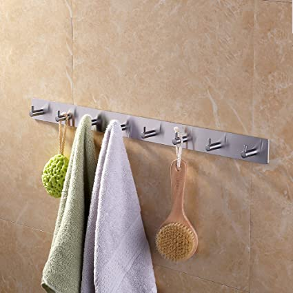 kes self adhesive hooks rail stainless steel 8 hook rack bath towel hook sticky bathroom - Bathroom Towel Hooks