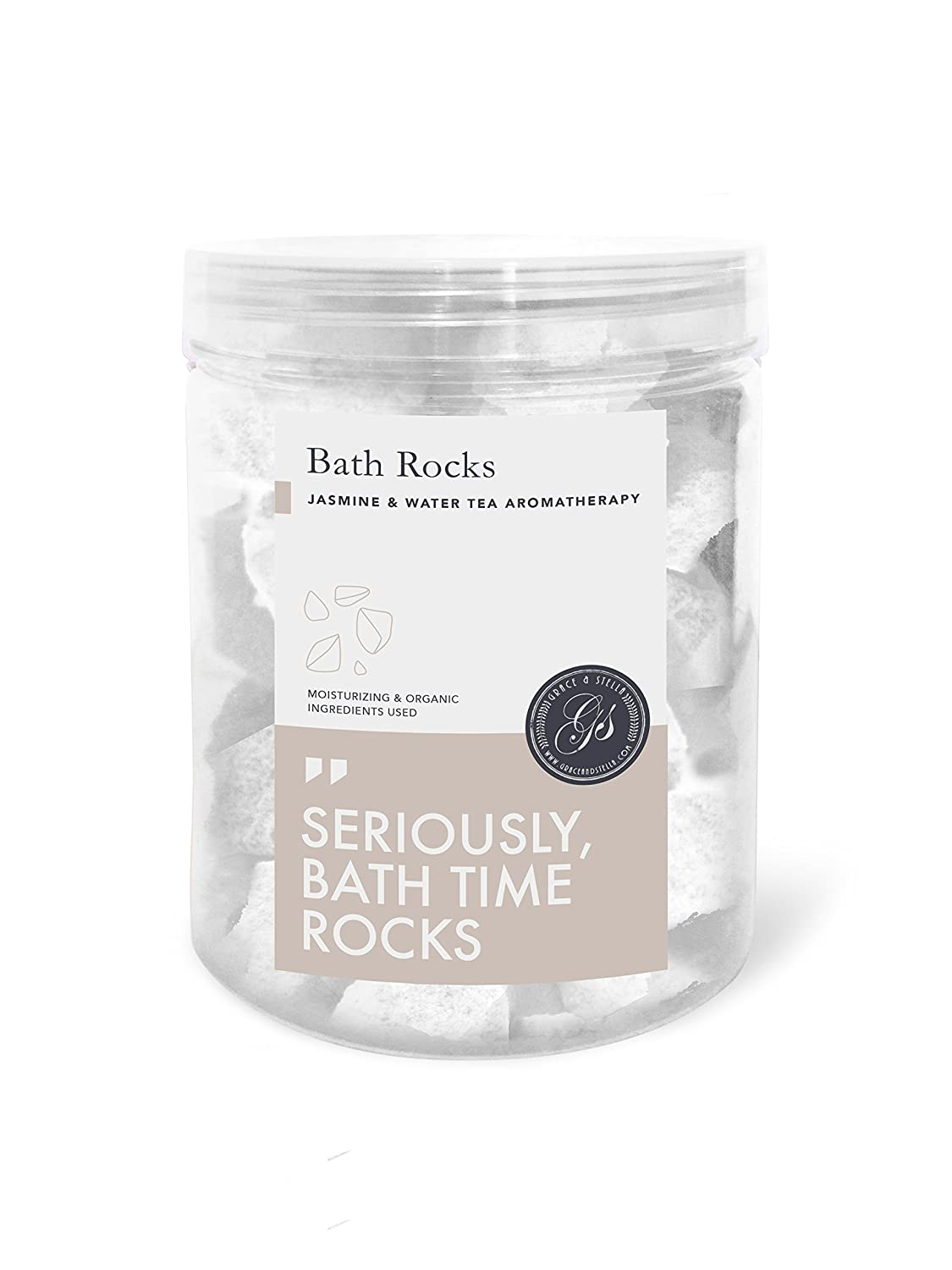Bath Bomb Rocks (320g) - Best Gift Idea - Highest Quality Ingredients and Shea Butter for Moisturizing Dry Skin - Ultra Lux Essential Oil Handmade Spa Fizzies - Top Relaxation Box (Jasmine) Grace & Stella Co.