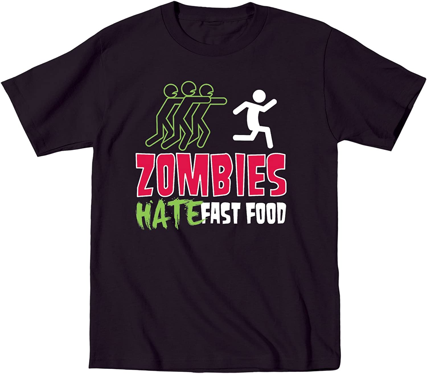 Zombies Hate Fast Food Funny Novelty Walkers - Youth Short Sleeve Graphic T-Shirt