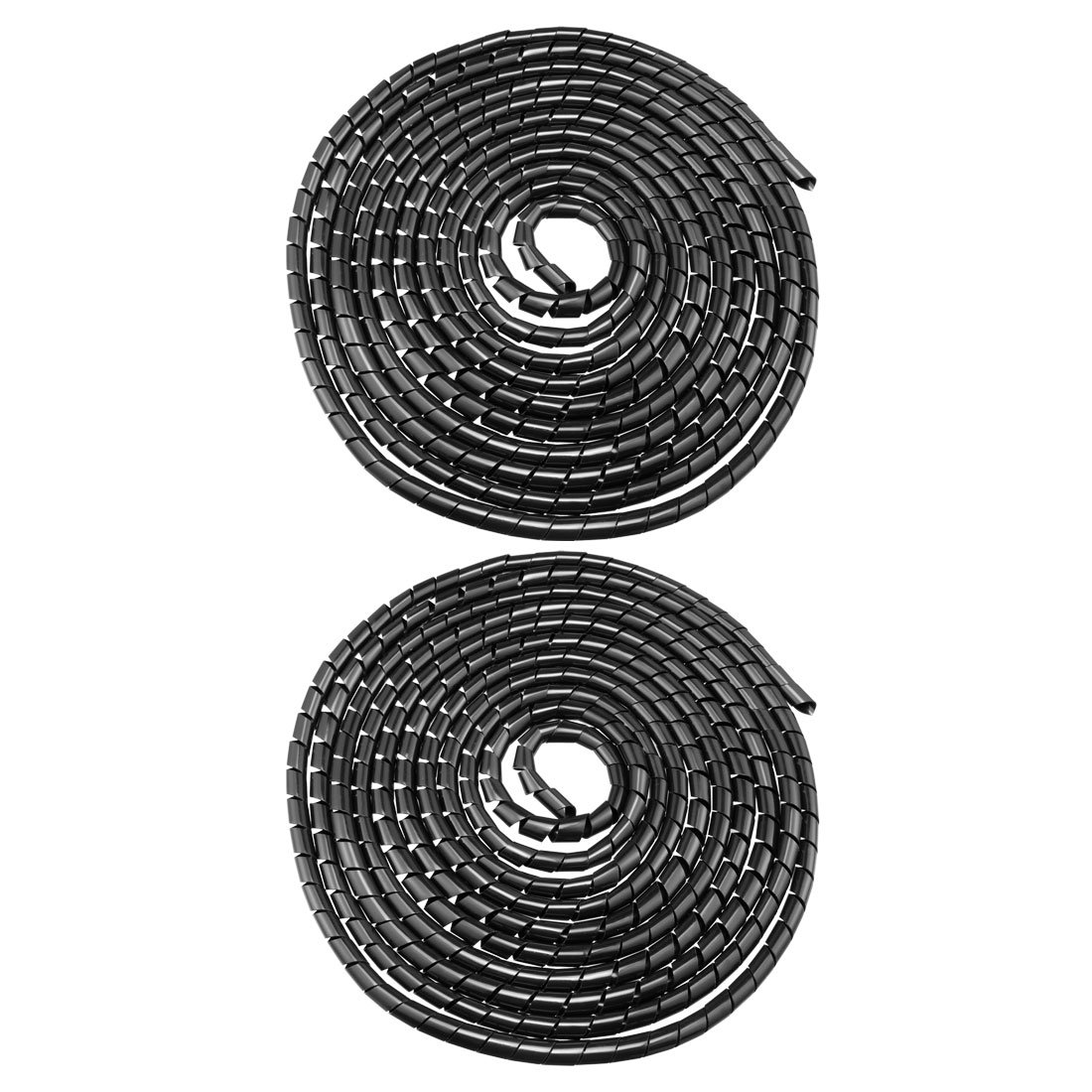 uxcell/® 12mm Flexible Spiral Tube Cable Wire Wrap Computer Manage Cord Black 5.5-8M