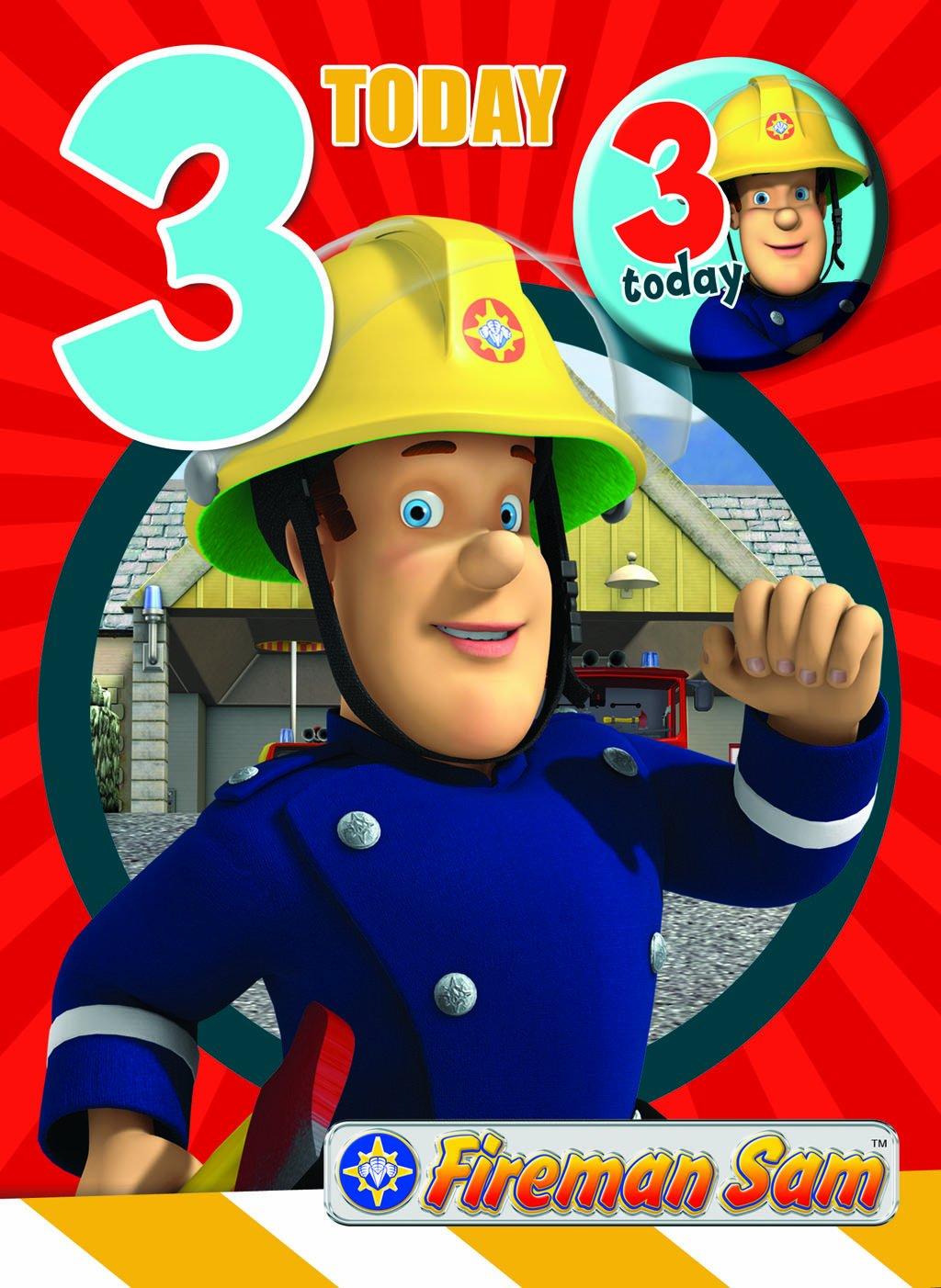 Fireman Sam FS003 - Tarjeta de cumpleaños para niños que ...