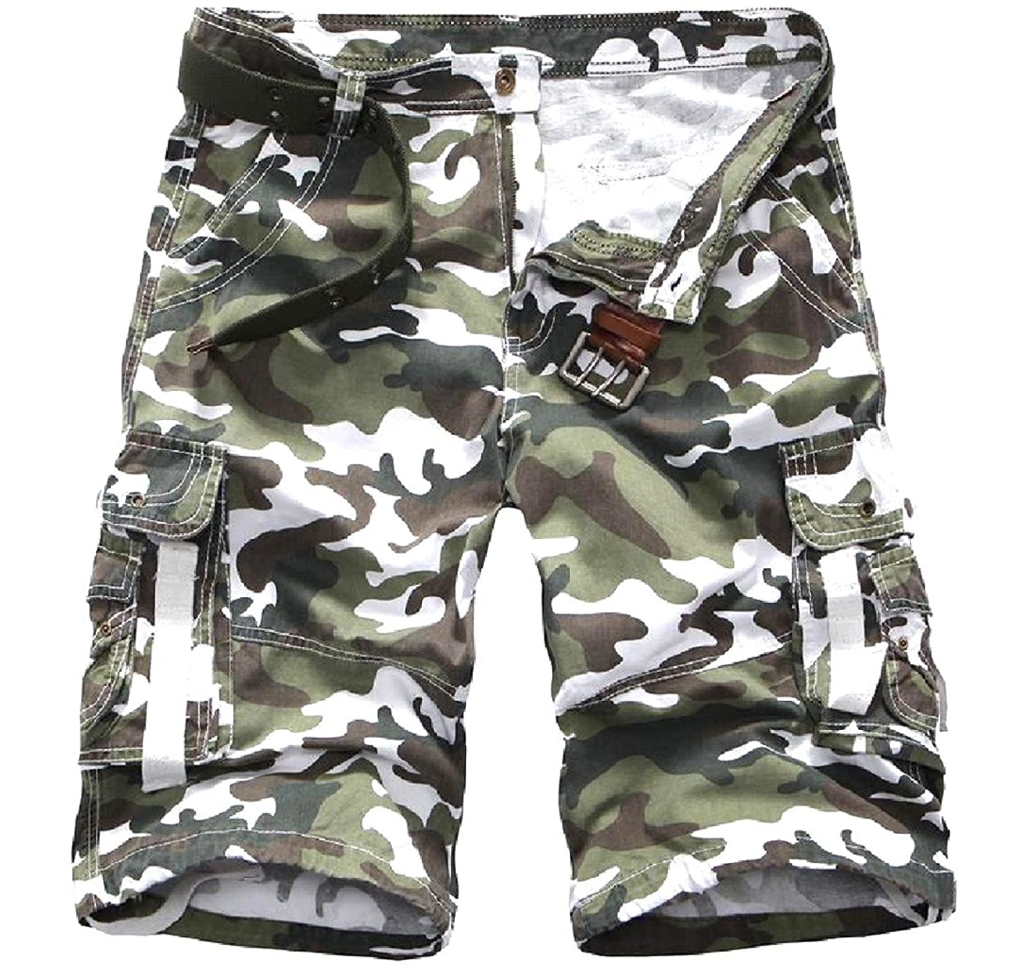 bb18c48a1d 30%OFF Coolred Mens Camouflage Color Zipper Comfy Cargo Shorts without Belt