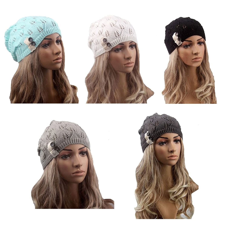 I'MQueen Women's Winter Warm Crochet Slouchy Lace Beanies Hat Knitted Skull Cap