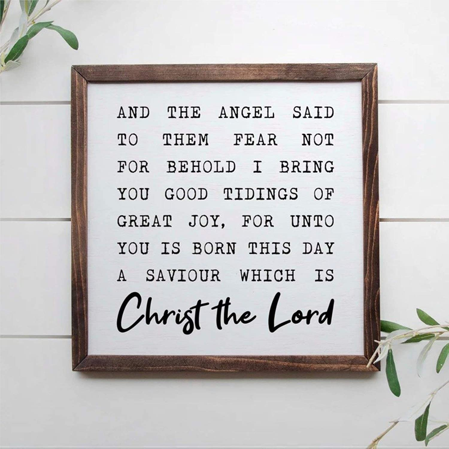 DONL9BAUER and The Angel Said to Them Behold I Bring You Good Tidings of Great Joy, 12x12 Framed Wooden Sign, Christmas Sign Wall Hanging Farmhouse Home Decor Wall Art