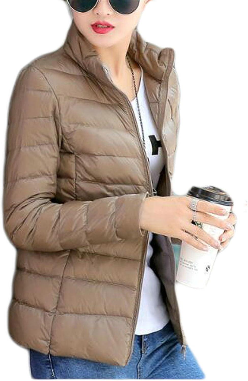 WANSHIYISHE-Women Ultra Light Packable Stand Collar Winter Down Puffer Jacket Coat