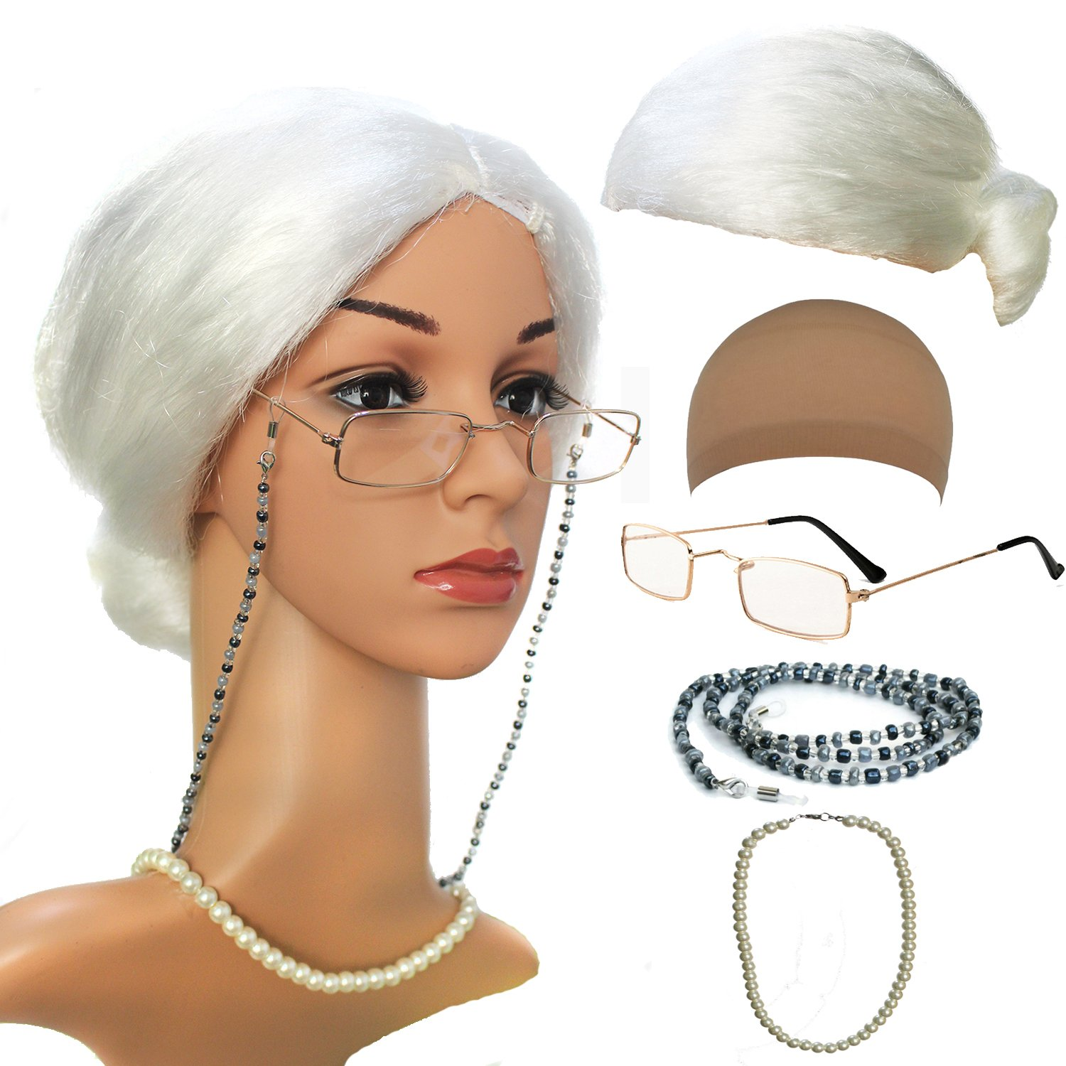 Old Lady Cosplay Set - Grandmother Wig, Wig Cap,Madea Granny Glasses, Eyeglass Chains Cords Strap, Pearl Beads qnprt Old Lady/Mrs. Santa Wig Madea Granny Glasses Style-1 OldLady-M1