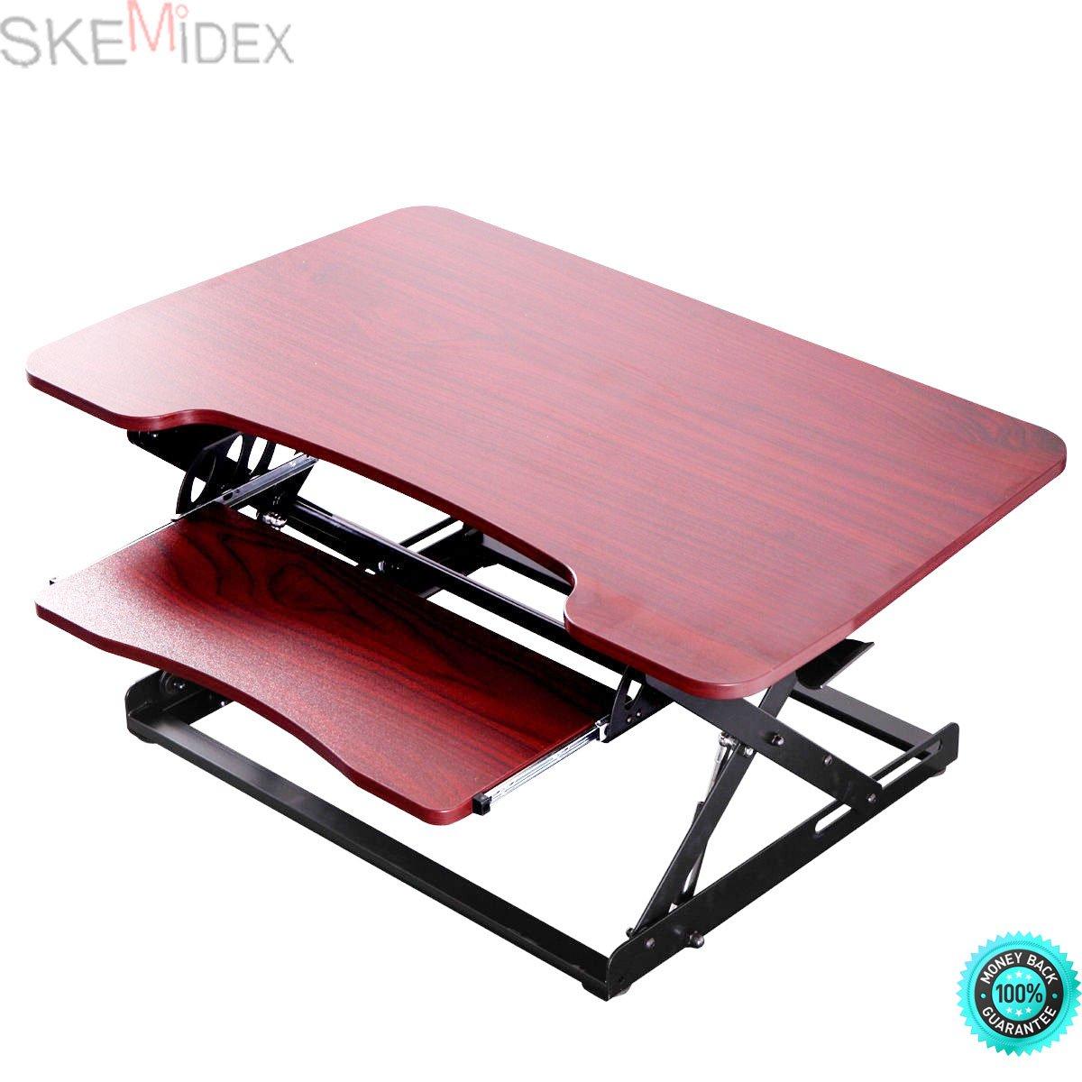 SKEMiDEX---Brown Desktop Tabletop Standing Desk Adjustable Height Sit to Stand Workstation