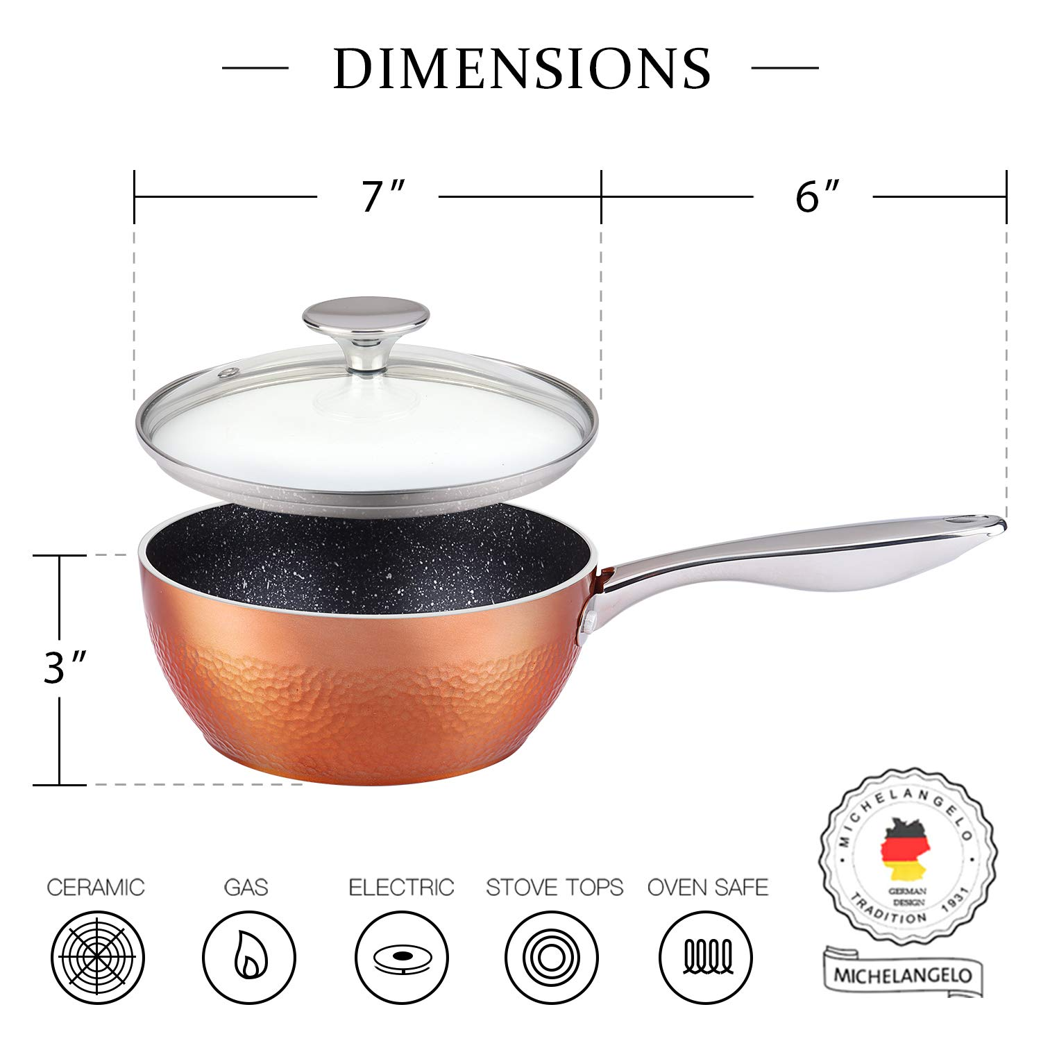 MICHELANGELO 1.5 Quart Sauce Pan with Lid, Small Copper Saucepan with Nonstick Stone Interior Coating & Hammering Exterior by MICHELANGELO (Image #4)