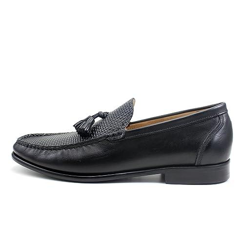 Giorgio Rea Zapatos para Hombre Negro Elegante Hombre Zapatos Hecho A Mano EN Italia Cuero Real Brogue Oxfords Richelieu Mocasines: Amazon.es: Zapatos y ...