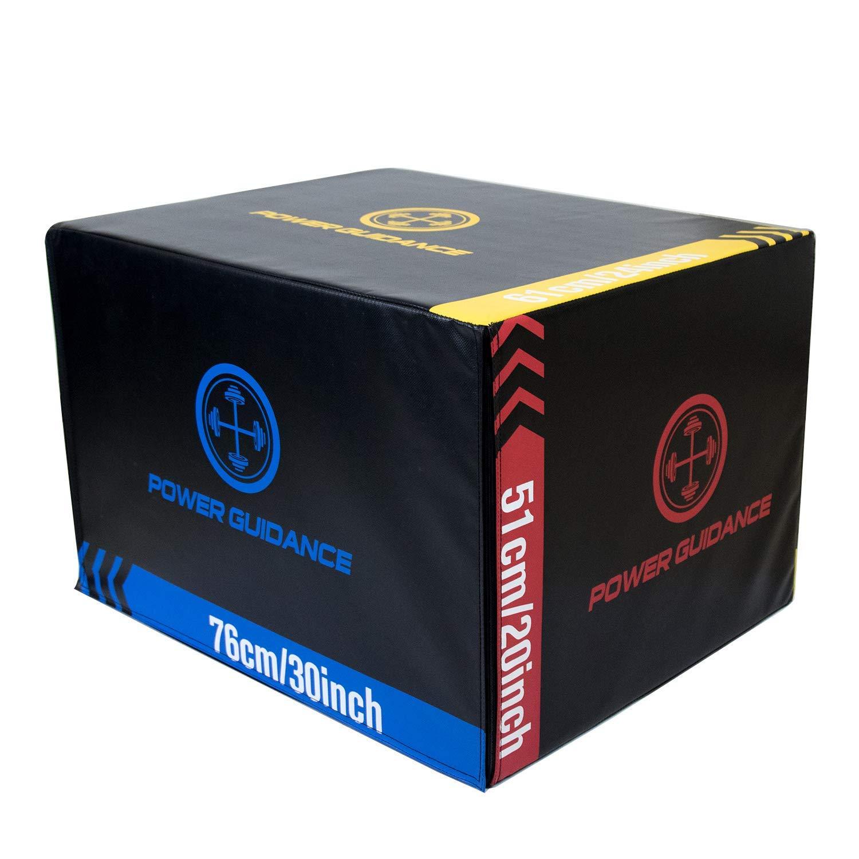 POWER GUIDANCE 3 in 1 Wood Plyometric Jump Box, Plyo Box for Jump Training and Conditioning - 30''/24''/20'', 24''/20''/18'', 16''/14''/12'' (#4 Soft Plyo Box)