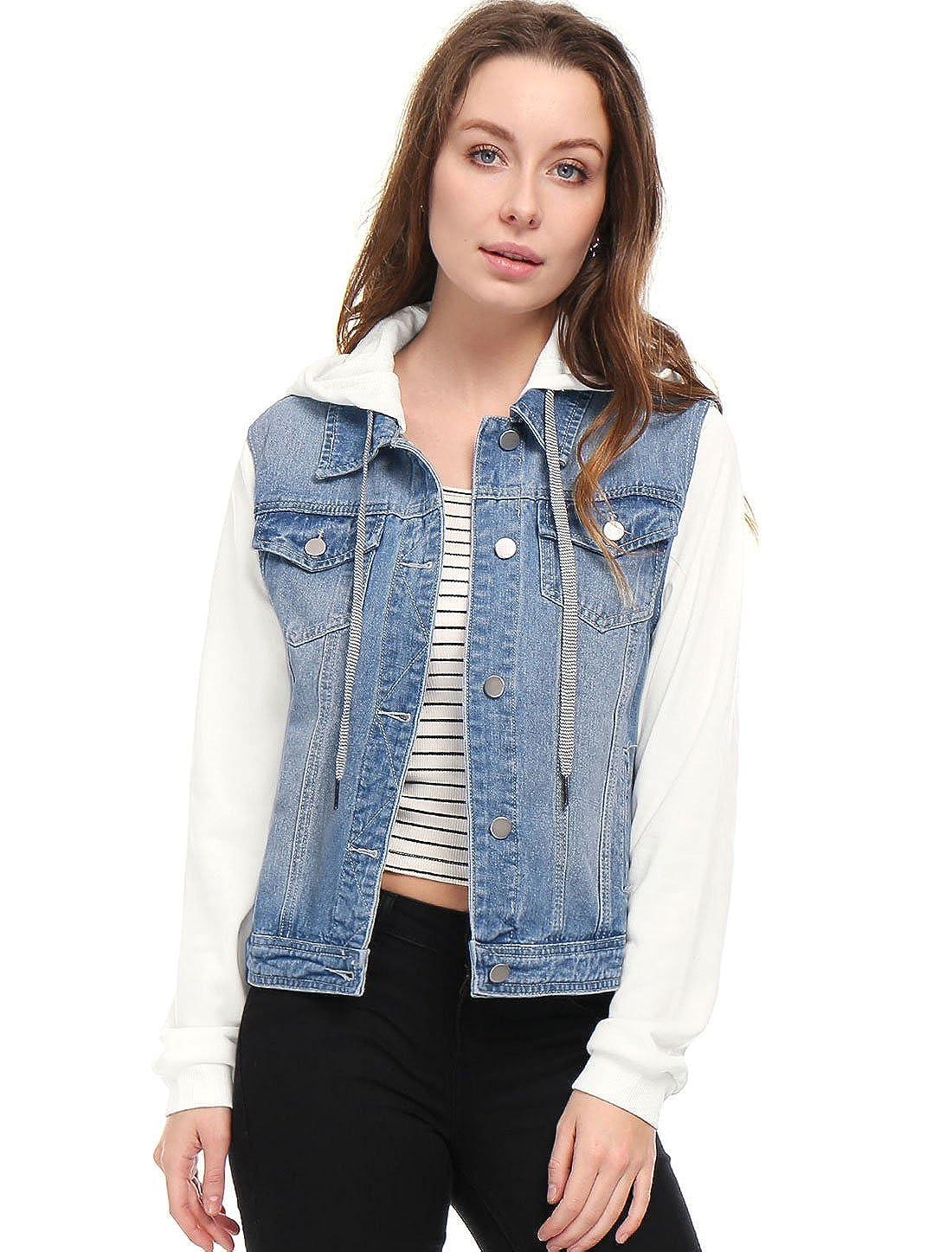 Allegra K Womens Layered Drawstring Hood Denim Jacket w Pockets