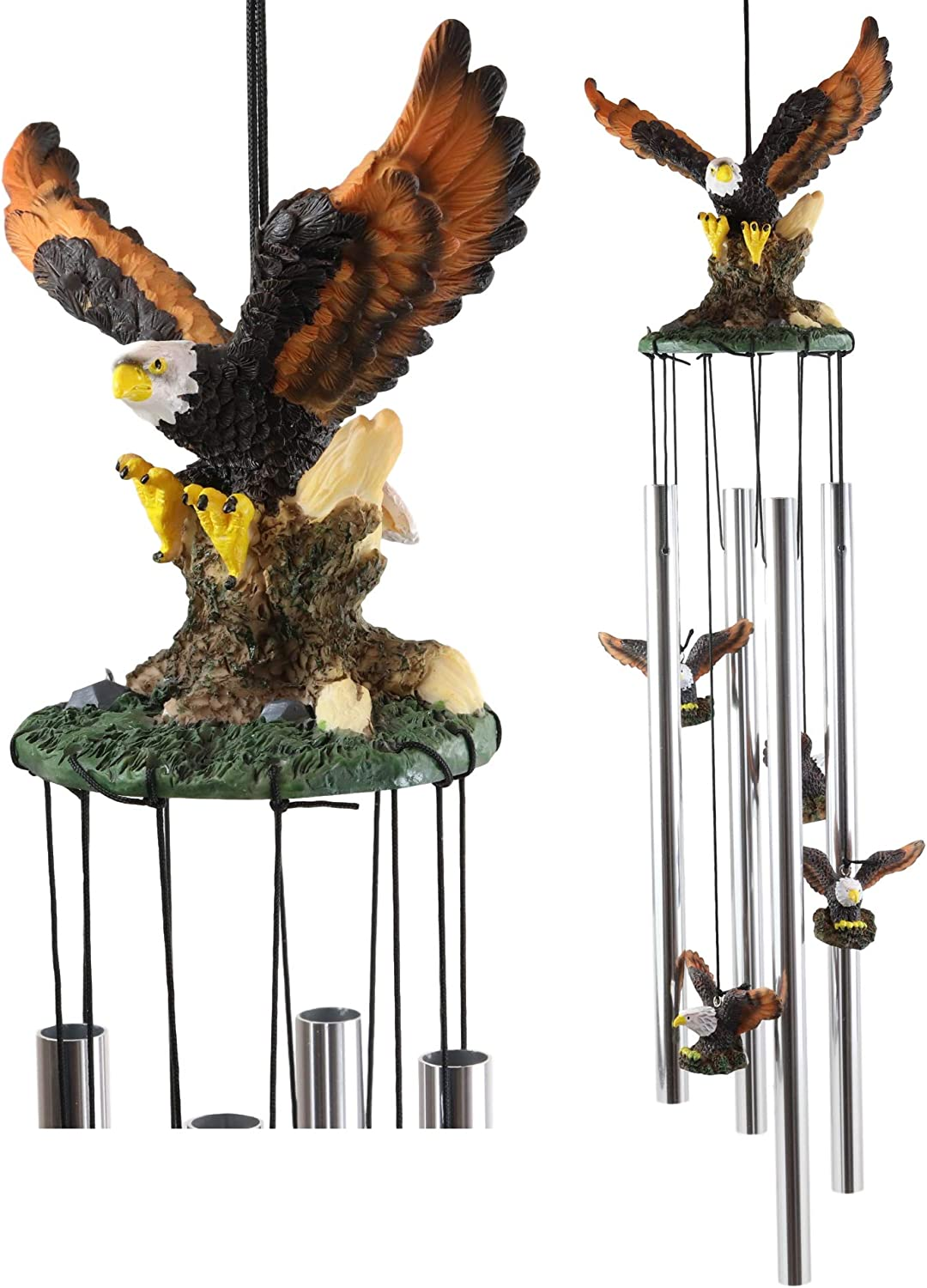 Ebros Gift Colorful American Bald Eagle Spreading Out Its Wings Resonant Relaxing Wind Chime Patio Garden Decor Wild Birds of Prey Eagles Swooping Resin Sculpture with Aluminum Rods