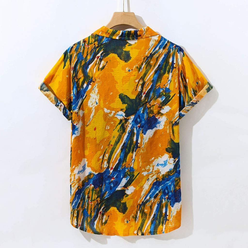 MIS1950s Mens Hawaii Print Casual Button Down Short Sleeve Tropical Hawaiian Shirt Quick Dry Top Blouse