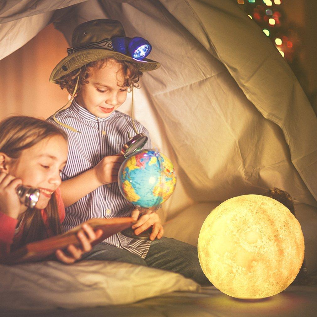 Lampe de Lune LED Rechargeable, Lampe de Chevet Télécommande et Contrôle Tactile, Veilleuse de Nuit pour Bébé Enfant, 16 Couleurs Différentes, Décoration pour Maison Chambre Cadeau pour Anniversaire, Enfant et Amoureux 12cm