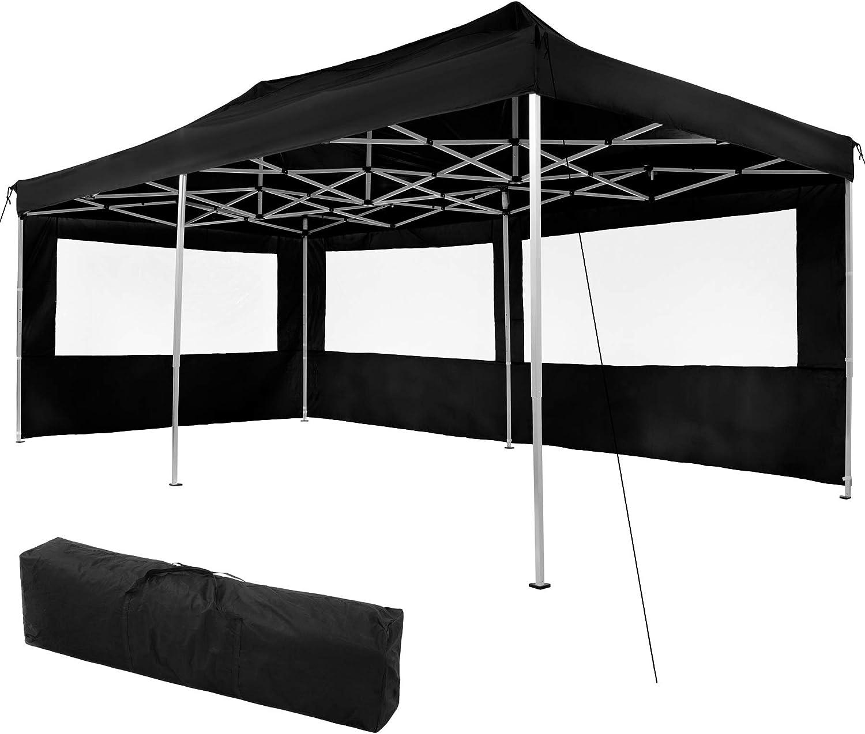 TecTake 800687 Carpa de Jardín 6 x 3m, Plegable, Aluminio, 100% Impermeable, 2 Paneles Laterales, con Cuerdas Tensoras, Piquetas y Bolsa (Negro | no. 403159)