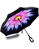 Double Layer Inverted Umbrella,Windproof & Rain proof Reverse Folding Cars Umbrella