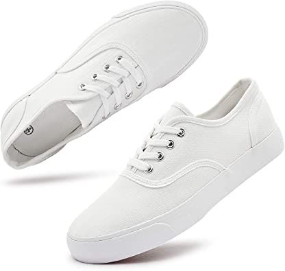 Women's White Canvas Sneakers Low Cut