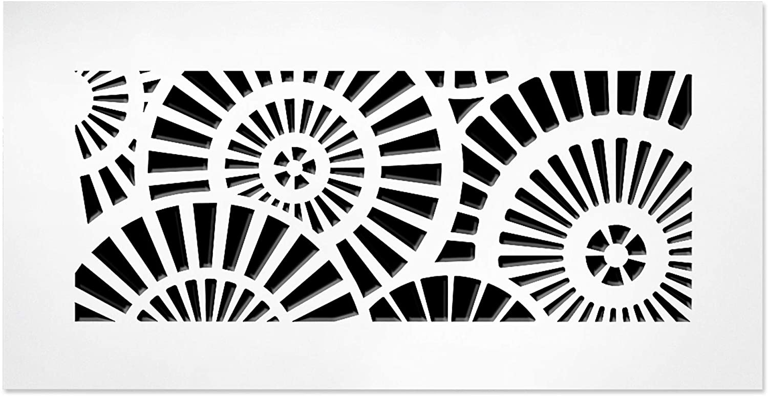 """SABA Air Vent Cover Grille - Acrylic Plexiglass 6"""" x 12"""" Duct Opening (8"""" x 14"""" Overall) White Finish Decorative Register Covers for Walls and Ceilings, Waterwheel"""