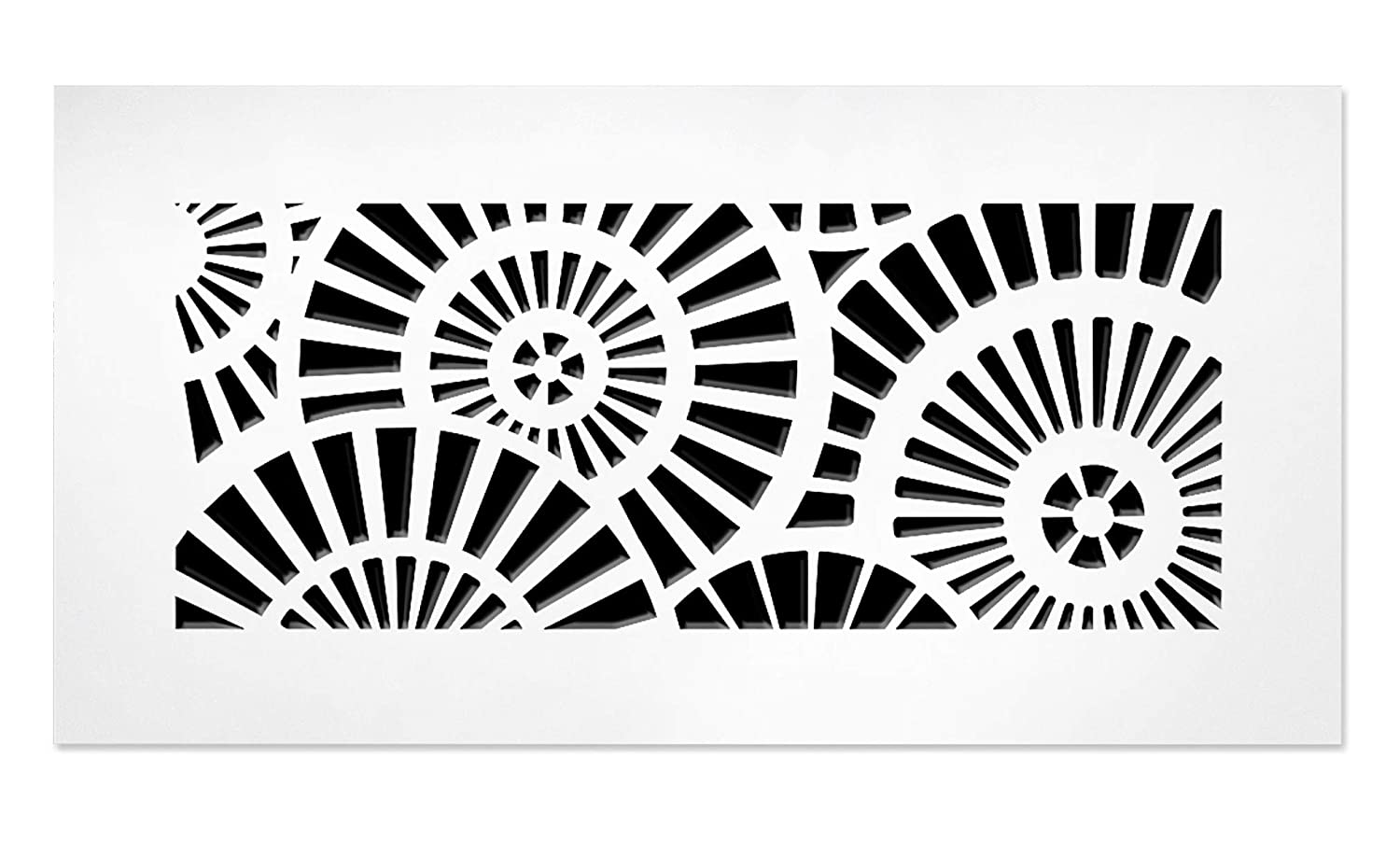 """SABA Air Vent Cover Grille - Acrylic Plexiglass 4"""" x 8"""" Duct Opening (6"""" x 10"""" Overall) White Finish Decorative Register Covers for Walls and Ceilings, Waterwheel"""