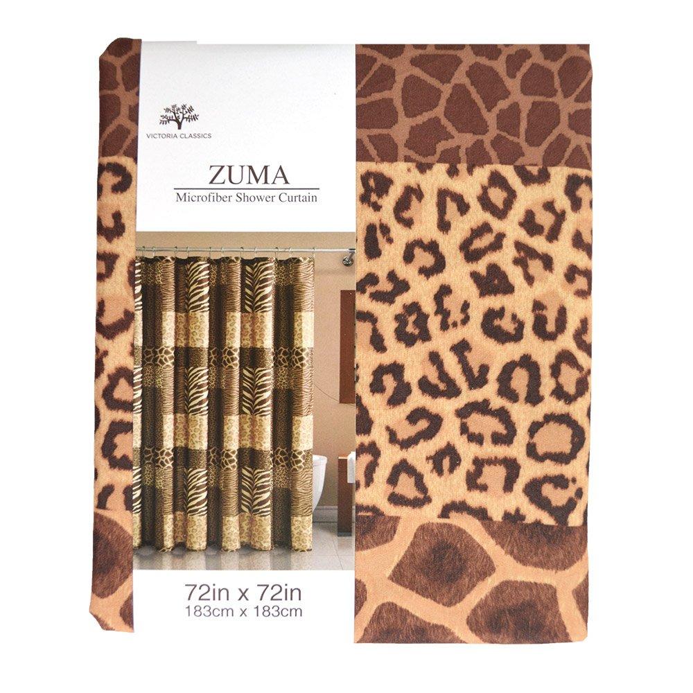 Amazon Animal Print Fabric Shower Curtain Shades Of Brown Zebra Leopard Cheetah Giraffe Home Kitchen