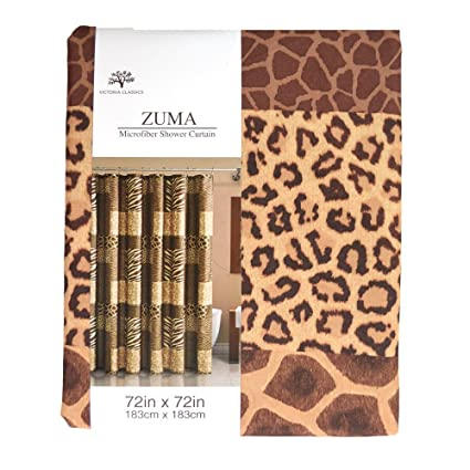 Amazon.com: Animal Print Fabric Shower Curtain Shades of Brown Zebra ...