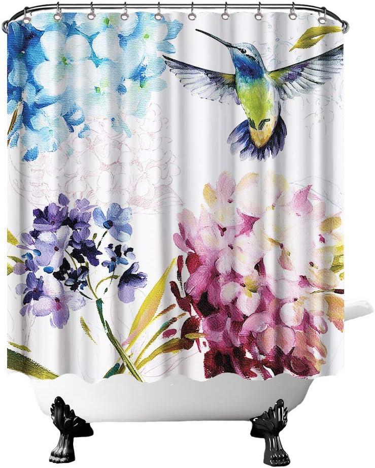 Hummingbird Shower Curtain Watercolor Bird on Hydrangea Flowers Bath Curtain Vintage Rustic Bathroom Decor Hooks Included 72