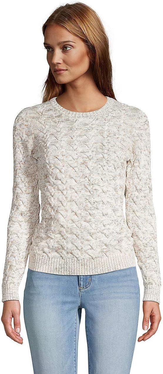 Lands' End Women's Cotton Crewneck 5% OFF Cable wholesale Sweater Drifter
