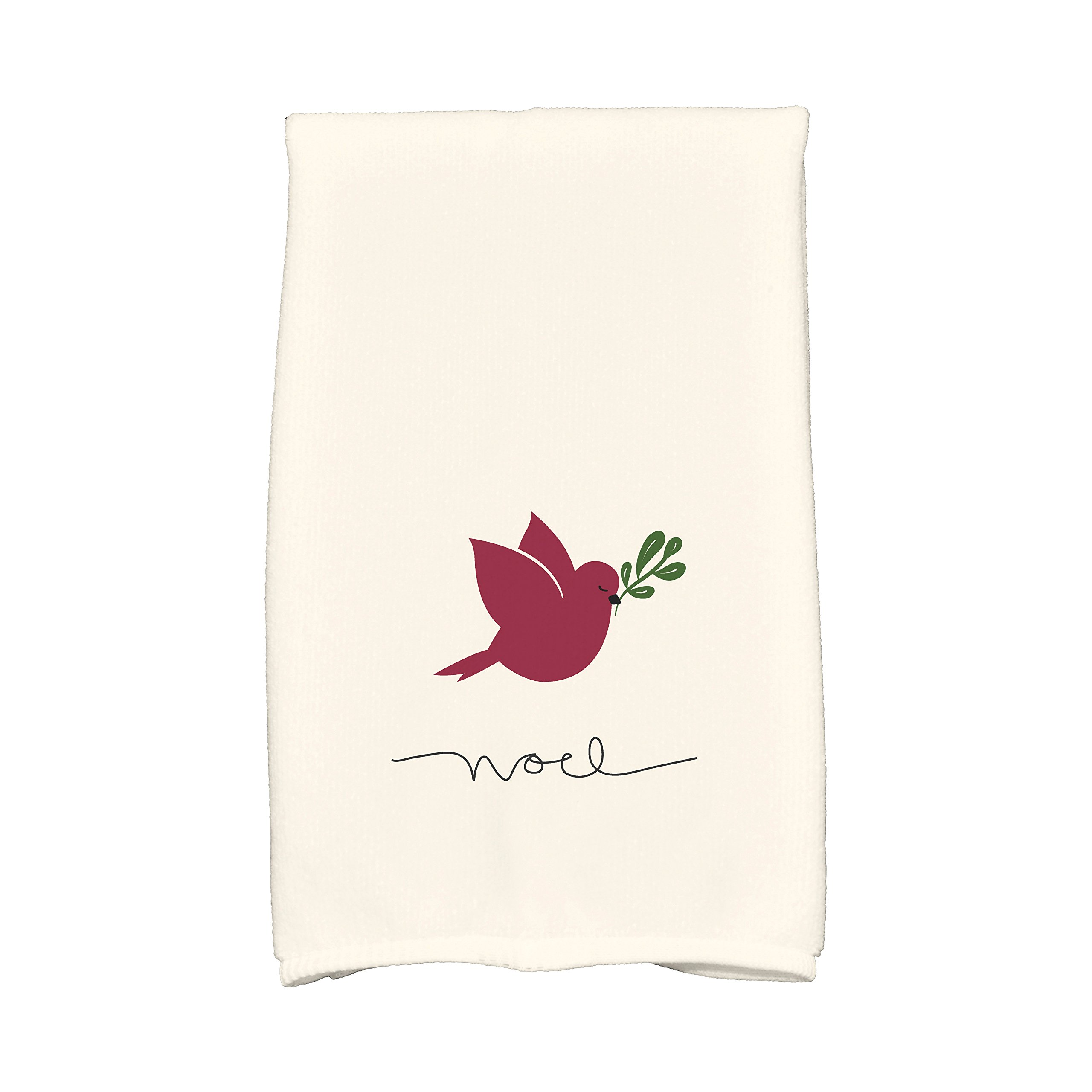 E by design KTHAN635IV2RE6 Noel Bird Holiday Animal Print Kitchen Towel, 16'' x 25'', Cranberry