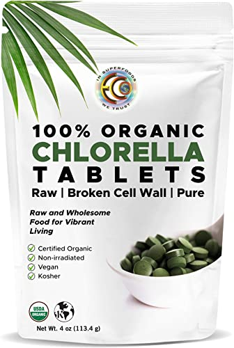 Earth Circle Organics, premium Chlorella tablets, USDA Organic, Kosher, highest potency, pure Chlorella raw superfood, cracked cell wall, high in protein, no additives or fillers – 400 Tablets