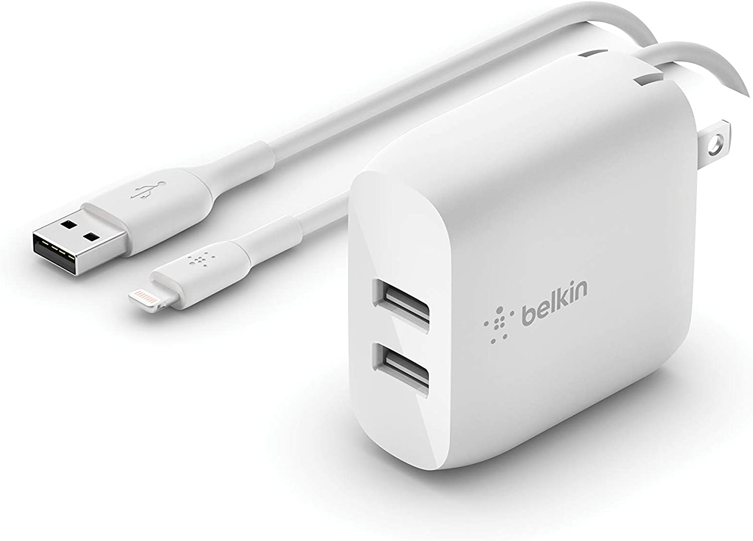 Belkin Dual USB Charger 24W + Lightning Cable (Dual USB Wall Charger Compatible with iPhone SE, 11, 11 Pro, 11 Pro Max, XS, XS Max, XR, X, 8, iPad, AirPods, More), White (WCD001dq1MWH)