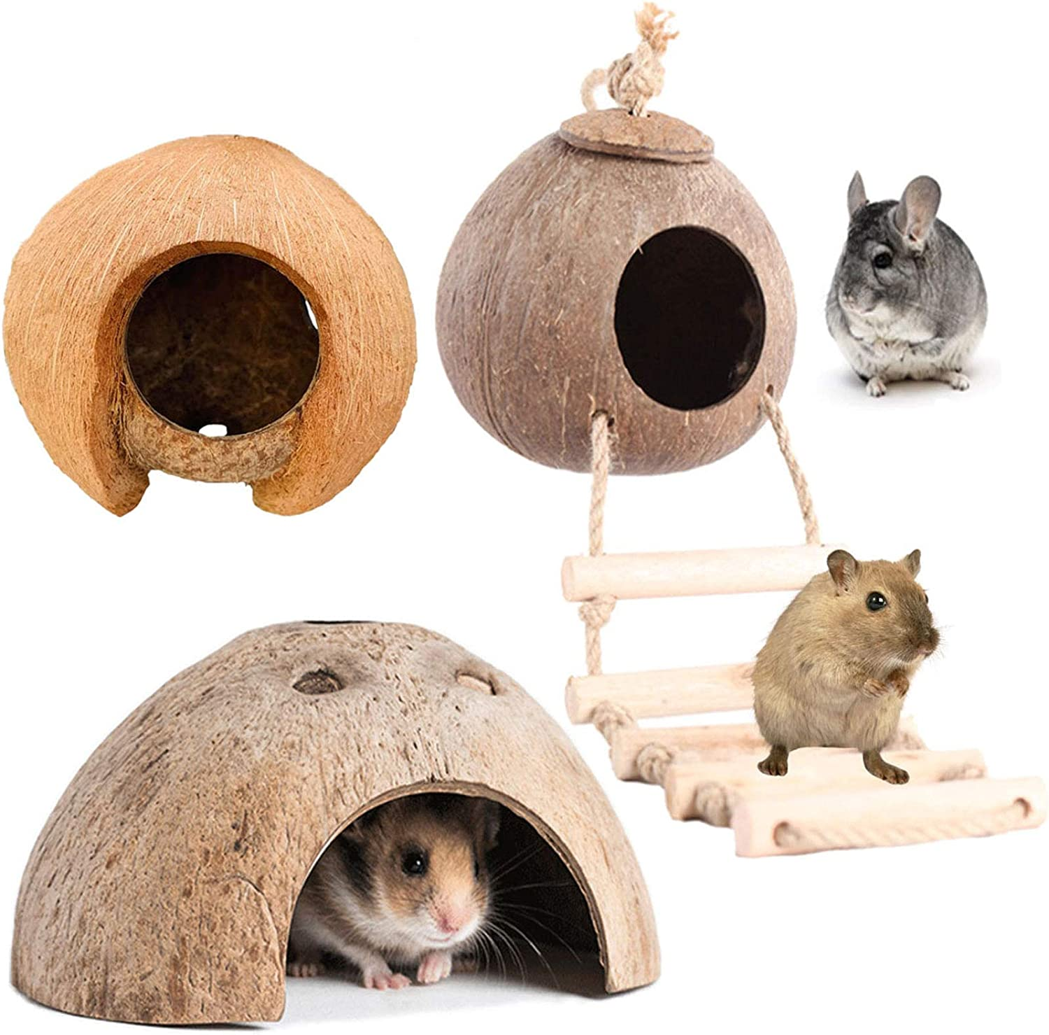 PINVNBY Natural Coconut Hut Hamster Hiding House Pet Cave Small Animal Cage Habitat Decor Hanging Guinea Pig Toys with Ladder for Gerbils Mice Rats Playing Breeding 3PCS