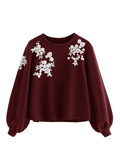 promo code 56004 83640 ROMWE Damen Pullover mit Blumen Stickerein Puffärmeln Langarm Jumper Shirt  Sweatshirt
