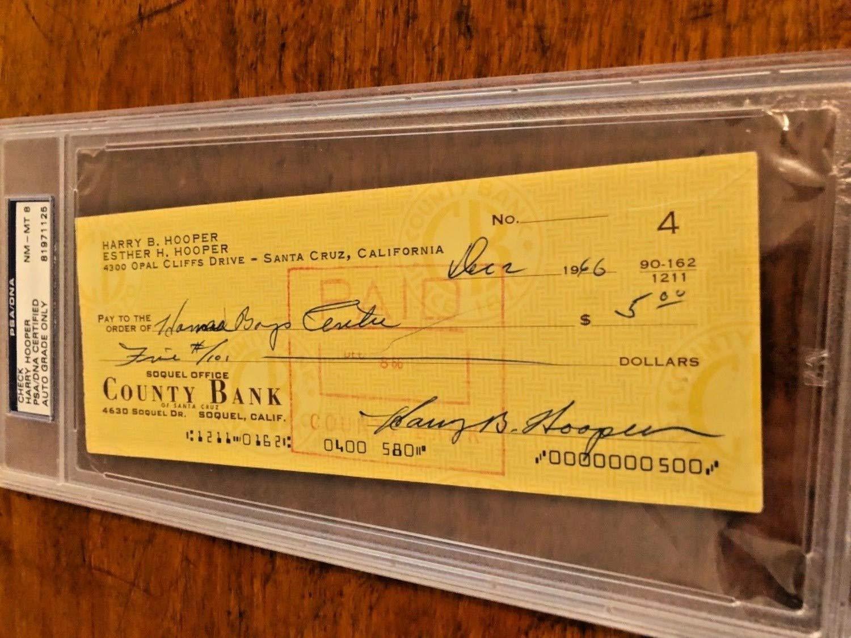 Harry Hooper Hof Autographed Signed Check PSA/DNA/ Dna Grade 8