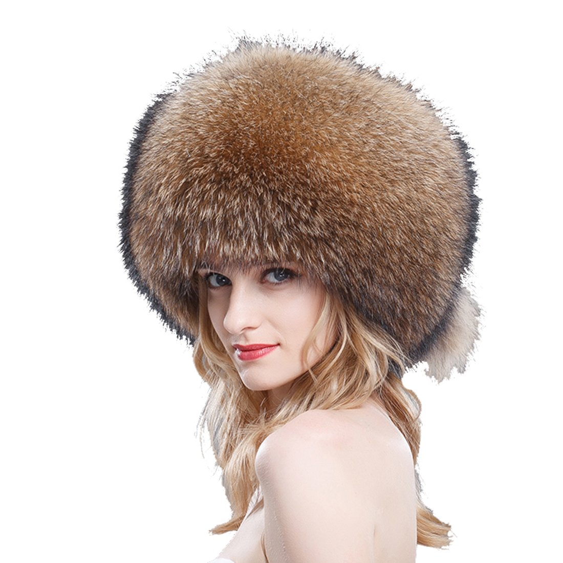 URSFUR Finn Raccoon All Fur Zhivago Pill Box Fur Hat Natural Color by URSFUR