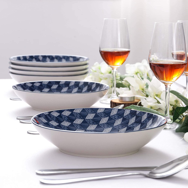 600 ml Salatteller Vancasso Aichi Porzellan Suppenteller 12er Set Tief Teller 21,5 cm Durchmesser