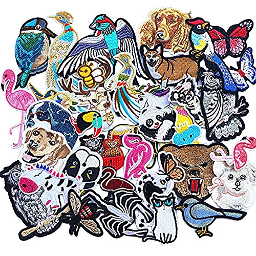 Dandan DIY Kid Embroidered Flamingo Owl Panda Fish Dog Cat Bird Bear Butterfly Bee Patch Sew On/Iron On Patch Applique Clothes Dress Plant Hat Jeans Sewing Flowers Applique Diy Accessory (Animals)