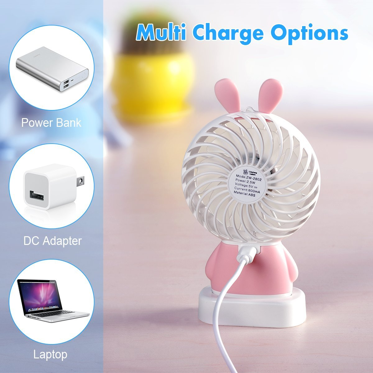 BONTIME Portable Fan - Mini Hand held Fan, Rechargeable USB Fan with Colorful Night Light, 2 Speeds, Cooling for Traveling, Fishing, Camping by BONTIME (Image #9)