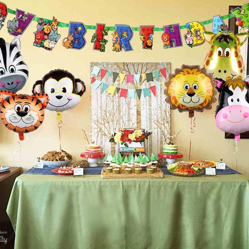 AerWo 6pcs de 22Inch Safari Animal Balloons Decoraciones de cumpleaños para niños con Animal Happy Birthday Banner (78inch / 2m) Banner de decoración ...
