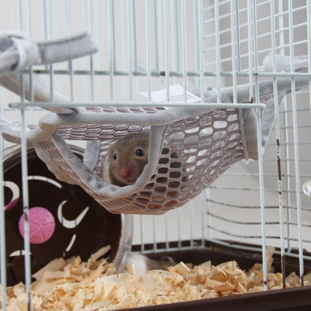 Stock Show Small Pet Hanging Bed Pet Double Bunkbed Mesh Hammock Sleepy Pad for Mouse, Chinchilla, Rat, Squirrel, Parrot, Gerbil and Dwarf Hamster, Baby Guinea Pig, Random Color